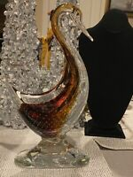 """Vintage Tall 15""""Hand Blown Murano Glass Duck w/ Controlled Bubble"""