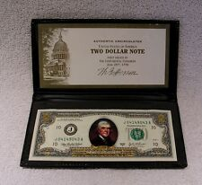 $2 Two Dollar Bill  Colorized on Front & Back - Uncirculated / Authentic