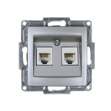 Gunsan Visage Telefon Steckdose Telefondose 2-fach CAT3 Silber 01281500157121