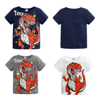 Toddler Boys Cartoon Dinosaur Printed T-shirt Infant Cotton Short Sleeve Tops