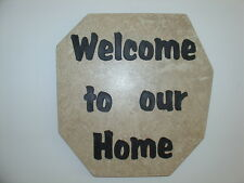 """Welcome Sign Sandblast Art  Wall Hanging """"Welcome To Our Home"""" Gift"""