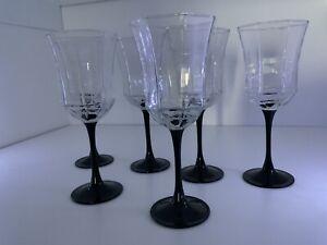 "Arcoroc 6 Luminarc FRANCE Black Stem OCTIME Wine Glass Water Goblets 8 1/2"""