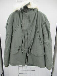 H1988 VTG USA ARMY Flying N-3B Could Weather Fur Hood Military Parka Jacket L
