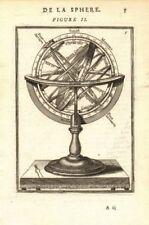 ARMILLARY SPHERE. De la Sphere Artificielle. Tropics poles colvres. MALLET 1683