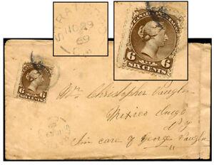 CANADA 6¢ LARGE QUEEN NOV 1869 STRATFORD-MEXICO NY