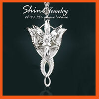 24K WHITE GOLD PLATED LORD OF THE RINGS Arwen Evenstar SOLID NECKLACE PENDANT 08