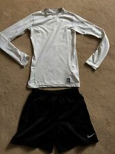 Nike Dri Fit pro combat women's size xs running long sleeve top & shorts, 6-8 uk
