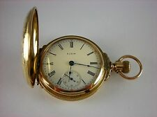 Antique Elgin 18s gold filled boxed hinged pocket watch. Runs Great. Made 1900