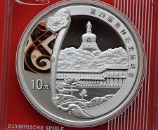 2008 China 1 OZ (approx. 28.35 g) Plata Juegos Olímpicos de Verano Parque se Hei 10 yuanes de moneda