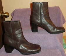 6 1/2M Ladies Womens Apostrophe Boots Ankle Brown Side Zip Leather Fashion Dress