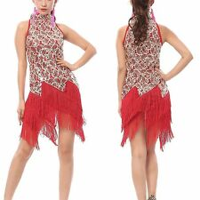 Latin Tango Rumba Samba Ballroom Salsa Dance Dress Sequin Fringes Tassels Dress