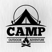 CAMP Outdoor Adventure Camping Camper Schwarz Auto Vinyl Decal Sticker Aufkleber