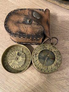 Vintage Antique Brass Pocket Sundial In Original Leather Pouch