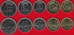 Kuwait set of 5 coins: 5-100 fils 1962-2012 UNC
