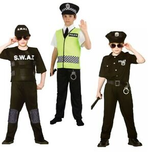 Boys Police Costume Policeman Offier Swat Costume Kids Fancy Dress Cop Outfit