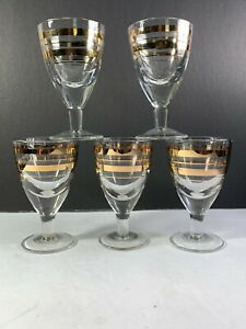 5 Mid Century Mod  Rings Of  Gold Trim Clear Cordial Shot Glasses 3 1/4 Tall