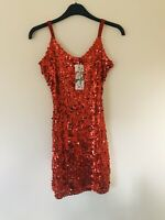 Jasmine London Red Women Glitter Sequin Cocktail Wrap Evening Party Dress Size M