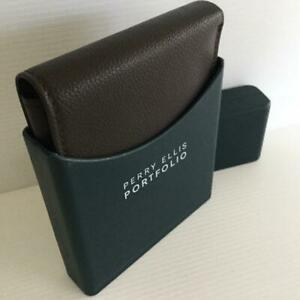 PERRY ELLIS GENTS Wallet Brown Pebbled Leather Credit Card New GIFT BOXED