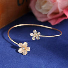 Women Fashion Vintage Flower Crystal Gold Cuff Bracelet Bangle Charm Jewelry
