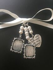 Bridal Bouquet Double Photo Frame Memory Charm Wedding With Heart Swarovski Bead