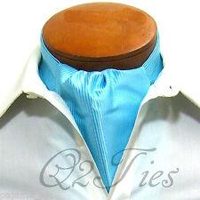 MEN'S Mini Stripes TURQUOISE Slipknot Style Casual Ascot Cravat Formal Wedding