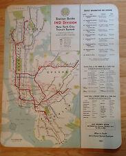 1948 NYC New York Subway Elevated Map Hagstrom IND Brooklyn Ebbets Field NICE