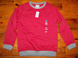 New! Boys THE CHILDREN'S PLACE Red Gray Cotton CrewNeck Sweatshirt Large 10 / 12