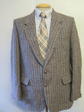 "Dunn & Co Harris Tweed Para Hombre Chaqueta Blazer Houndstooth Marrón 42"" L Euro 52 de largo"