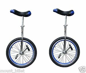 "Lot of 2 Unicycle 16"" Cycling In & Out Door Chrome colored New Great X'MAS Gift"