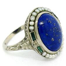 Antique Art Deco 14K Gold Cabochon Lapiz Lazuli Seed Pearl Filigree Dinner Ring