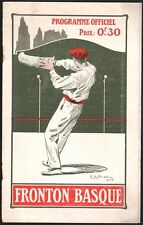 Programme Fronton Basque. Grand prix de Paris. 18 juin 1905. Neuilly Dutriac