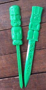 Vintage (2) Detroit TIKI Swizzle Stick Letter Openers - Mauna Loa & Port O Three