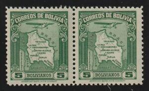 Bolivia 1935 #C50 Map of Bolivia (Se-tenant Pair) - MNH