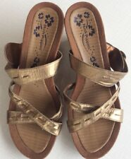 Hush Puppies Glade Uk6 Eu39 Gold Leather Mules Slip On Wedges Evening Party Wear