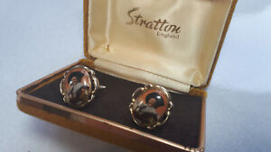 Vintage Cufflinks Stratton Laughing Cavalier white metal Pat 1144883 Boxed