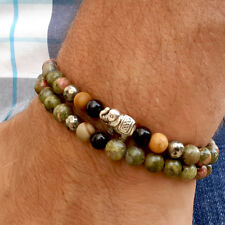 2 Wrap Gemstone Unakite Mala Elephant Bracelet Prayer Beads Mens Womens Jewelry