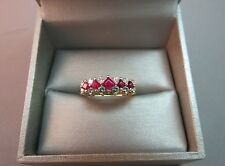 14k Yellow Gold Diamond Ruby Red Ring Princess Cut Gems 3.42g SZ 10.25 Gorgeous