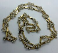 Vintage Seed Pearl Station Gold Tone Link Twisted Bar Necklace