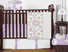Bumperless Designer Lavender Grey Yellow Floral Baby Crib Bedding Set Girls Room