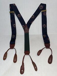 Vintage POLO RALPH LAUREN Horse Racing Suspenders Silk Made in USA