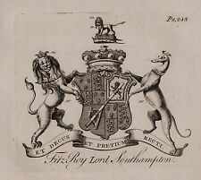 1779 ANTIQUE PRINT ~ FITZ ROY ~ FAMILY CREST COAT OF ARMS LORD SOUTHAMPTON