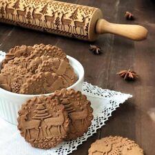 Christmas Elk Wooden Rolling Pin Embossing Baking Cookies Noodle Biscuit TD