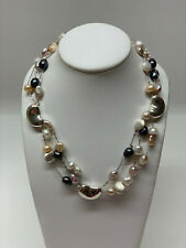 925 sterling sliver cashew bead with multi strand cultured pearl necklace