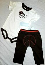 Pant Set 2pc Peace Brown Gymboree Cotton Boy 6-12 month New