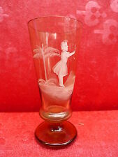 antikes Glas__bemalt__Mädchen__Jugendstil !