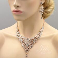 Rose Gold Plated Crystal Pendant Necklace Earrings Wedding Jewelry Set 01020