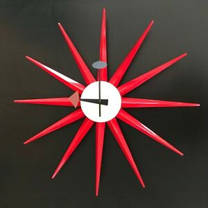 Mid Century Modern Sun Clock Retro Red Star Modern Kitchen Wall Clock