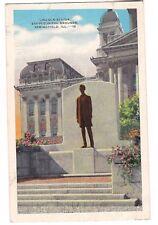 Lincoln Statue State Capitol Grounds Springfield Illinois Postcard Il Linen 1948
