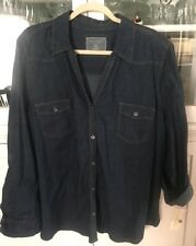 SONOMA WOMENS PLUS 3X SHIRT blouse TOP 3/4  or LONG sleeve blue denim NEW TAGS