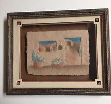 Vintage Pressed Paper Art Shadowbox Signed by Priscilla Pueblo Southwestern